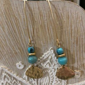 Gold and Turquoise-toned Earrings